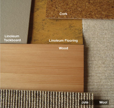 Photograph of Cork, Linoleum, Jute, Wool and Wood