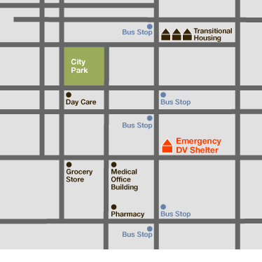 A diagrammatic map of a neighborhood that has a diverse set of services