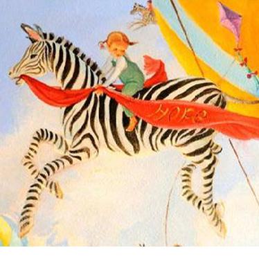 A colorful mural of a zebra