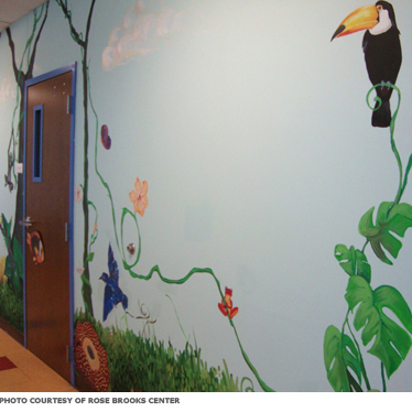 A mural of birds in the jungle