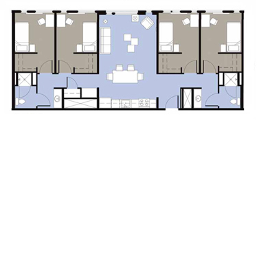 A plan of a multi-bedroom apartment unit