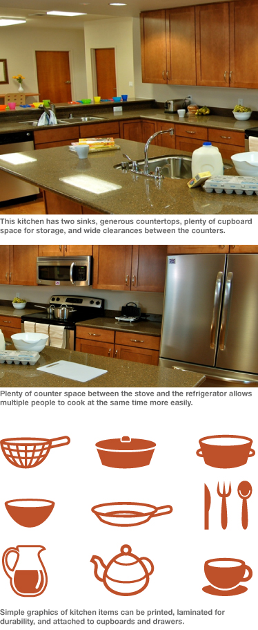 (Top) A kitchen with multiple sinks. (Middle) The kitchen also has lots of counterspace. (Bottom) Icons can be printed on drawers and cabinets to help residents find items in a new kitchen.