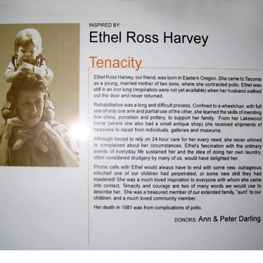 "A sign telling the story of why Ethel Ross Harvey personified ""Tenacity"""