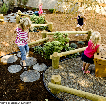 A play space with children running along paths