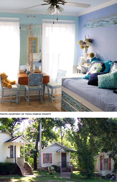 (Top) A brighly-colored room with a daybed and small table. (Below) A cluster of small cottages around a shared yard.