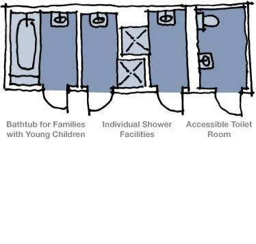 Diagram showing bathrooms with bathtubs, showers, and toilets
