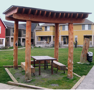 A sheltered picnic table