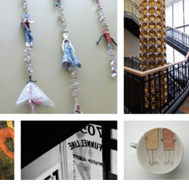 A collage of several different art pieces found in domestic violence shelters