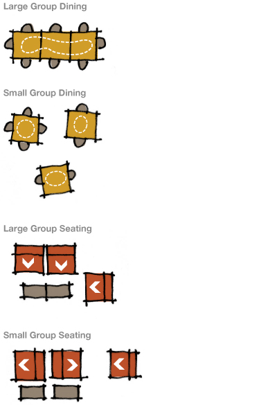 Diagrams of ways that furniture can be grouped to support groups of different sizes.
