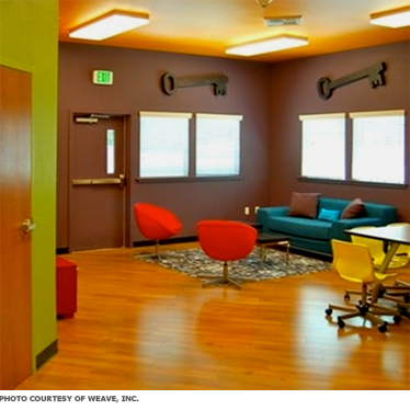 A bright room with spaces for teens to sit and hang out.
