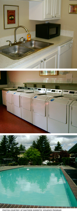 Top: A small kitchen that is part of an individual unit. Middle: A long line of commercial washers. Bottom: The shelter's pool.