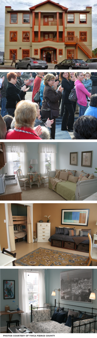 From top to bottom: 1) The building's renovated exterior 2) Supporters gathering to celebrate the shelter's opening 3-5) Three different rooms in the shelter, all decorated in different styles by volunteers.
